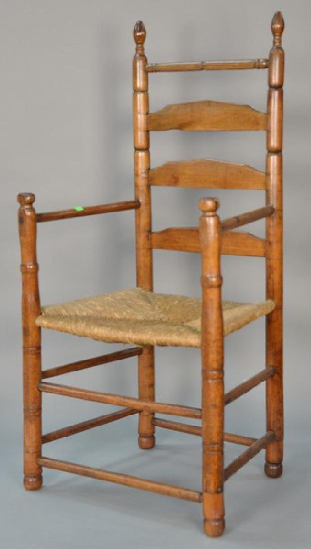 Primitive ladder back great chair with rush seat (legs