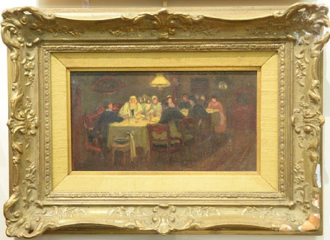 Jerome Myers (1867-1940)  oil on board  At the Dinner