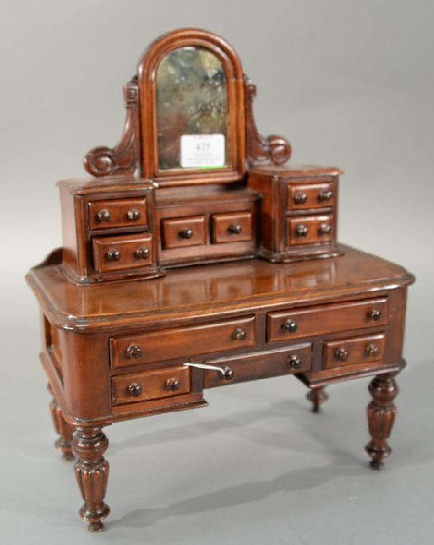 Miniature mahogany vanity and mirror, early 20th