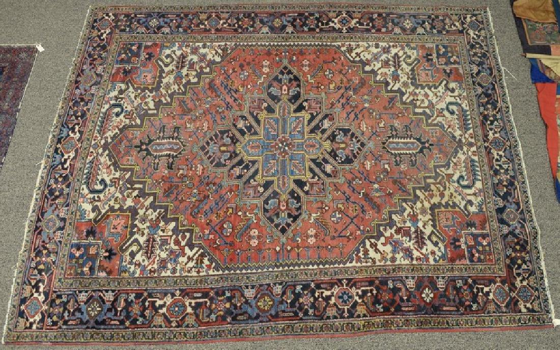 """Heriz Oriental rug (wear, some fading) 8' 2"""" x 10' 3"""""""