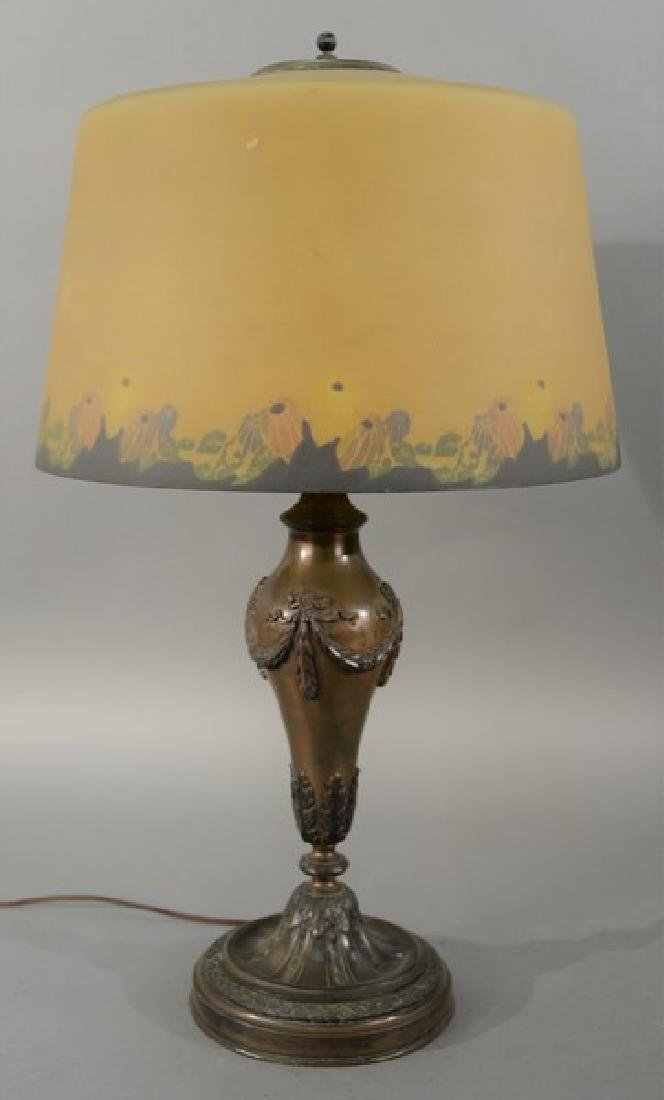 Pairpoint table lamp with reverse painted shade, signed