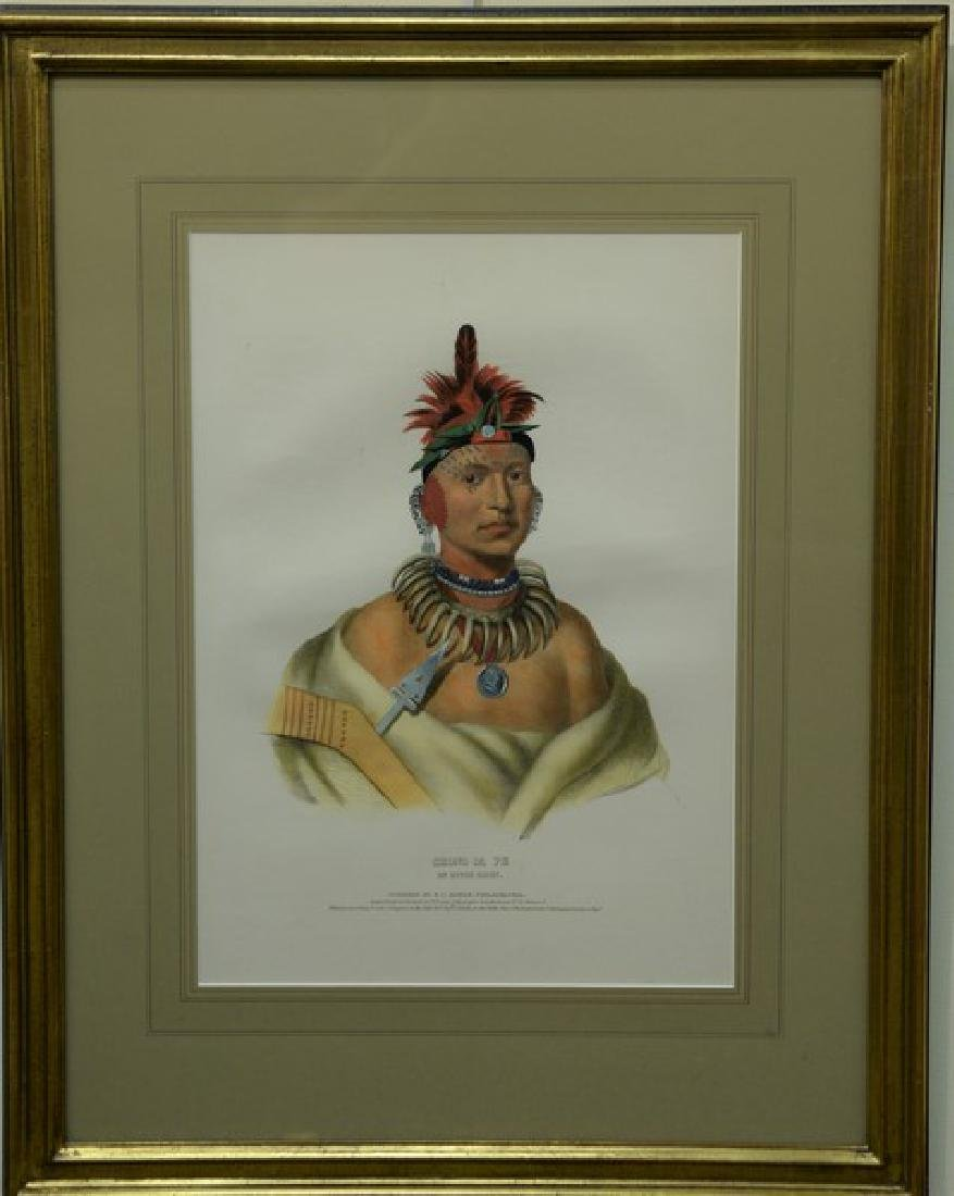 Set of three hand colored lithographs of Indian Chiefs