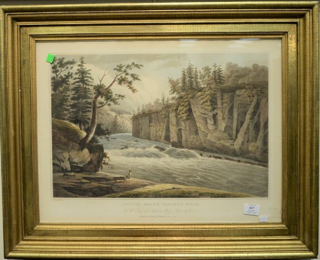 John Hill hand colored engraving  Rapids above Hadley's