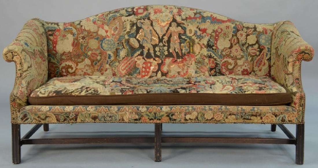 George II mahogany sofa with camel back and rolled