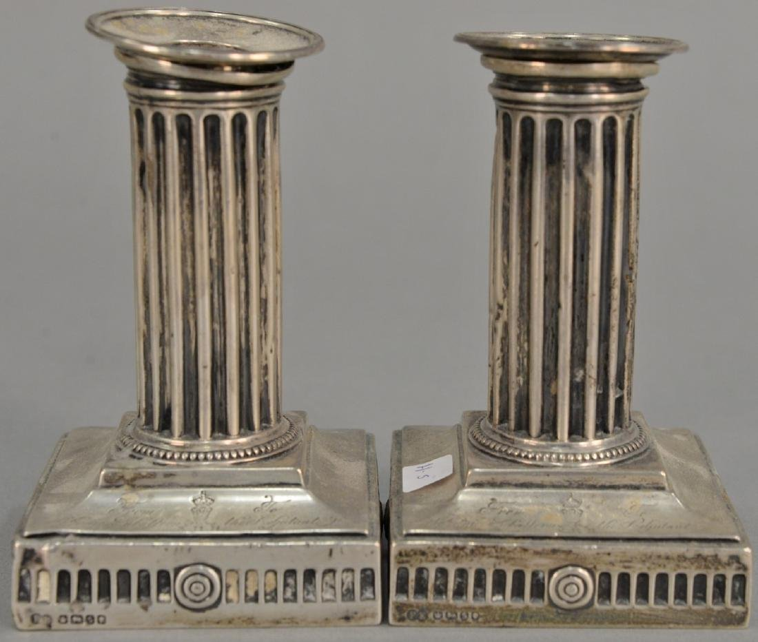 Pair of Elkington & Co. weighted sterling silver