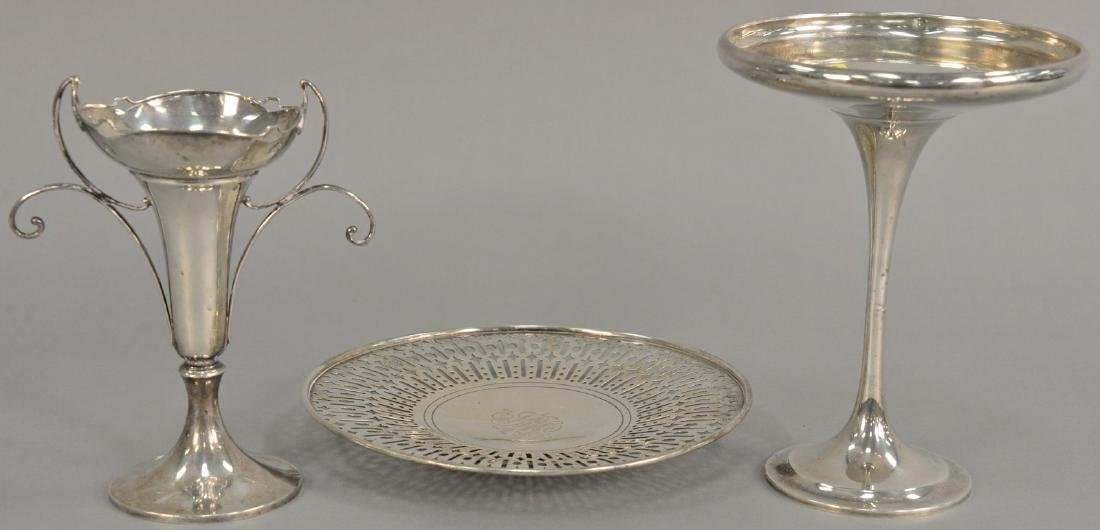 Three piece sterling silver lot including a compote