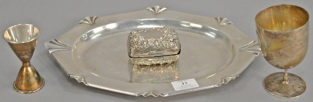 Four piece sterling silver lot including small tray,
