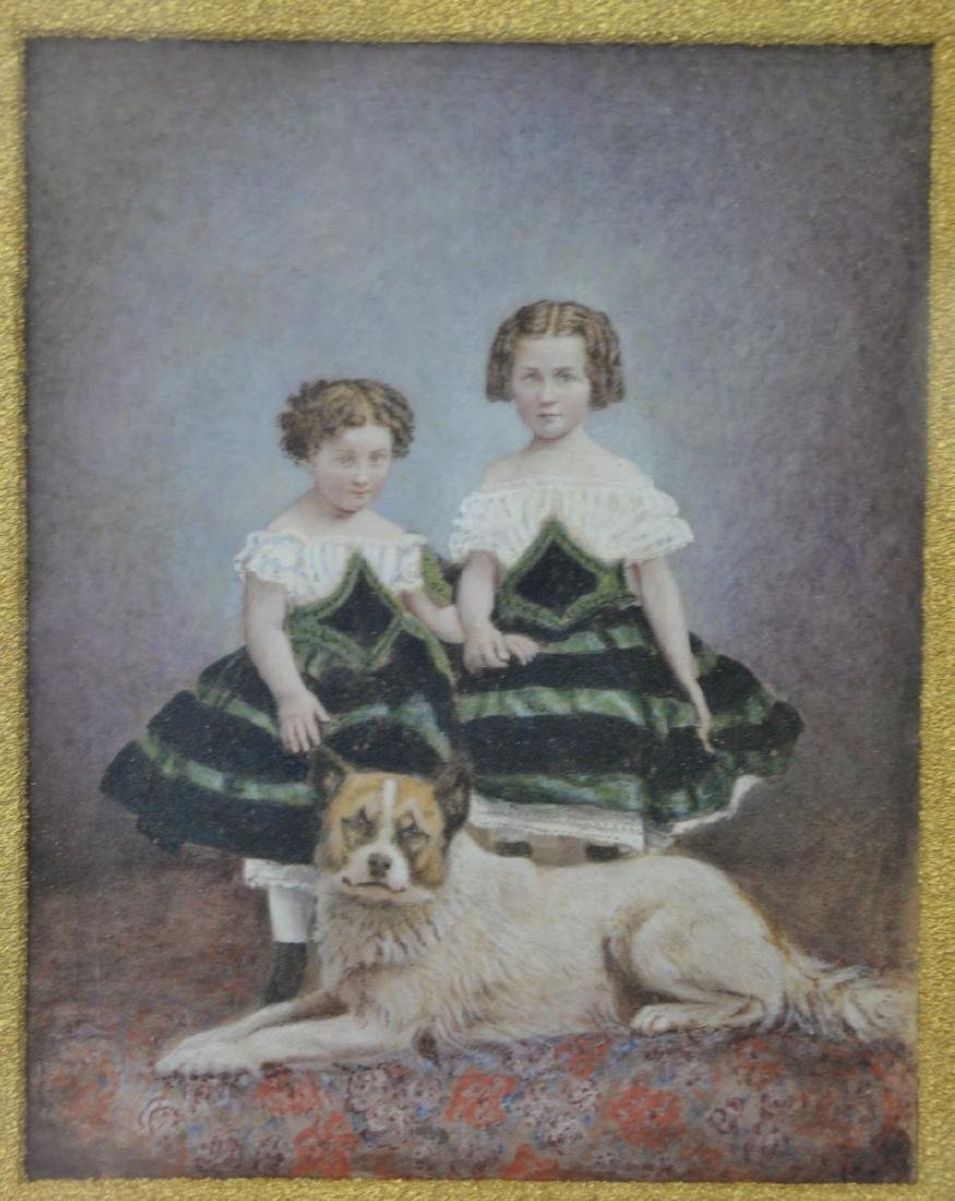 Victorian watercolor of two young girls with a dog,