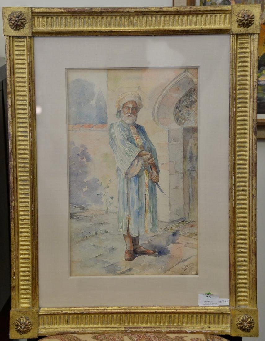 T Dentz, watercolor on paper of Middle Eastern man with