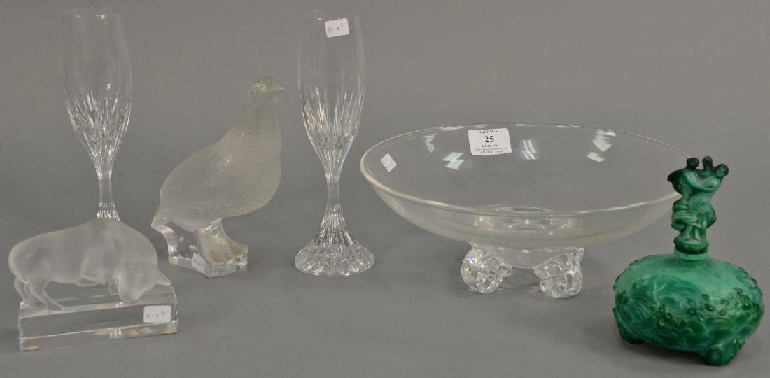Group of Lalique quail, Lalique clear and frosted glass