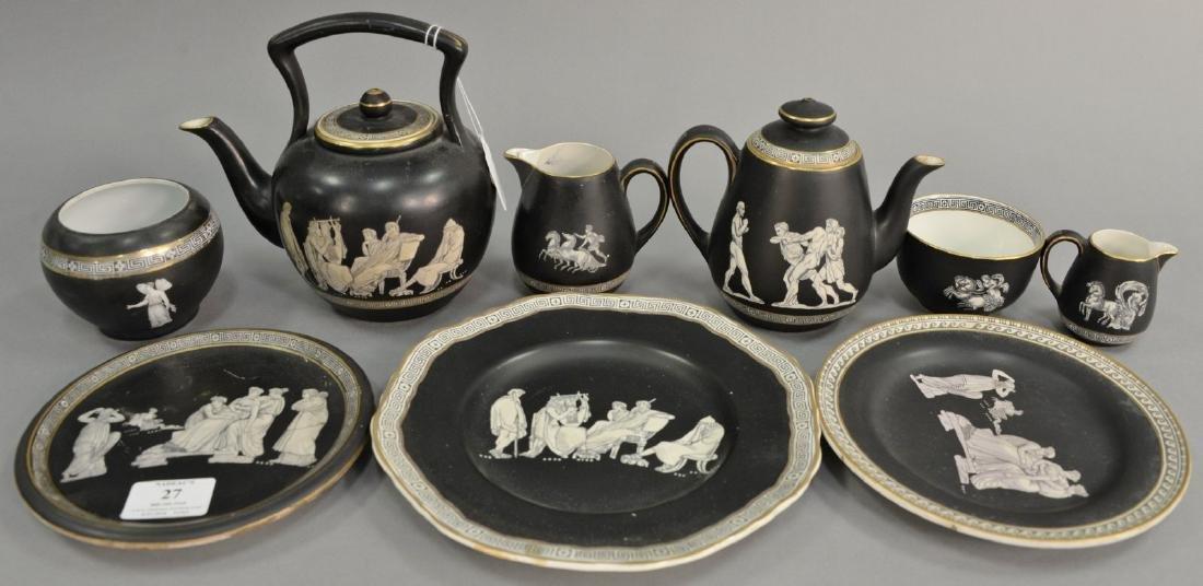 Nine piece Fenton and Pratt Old Greek tea set group to
