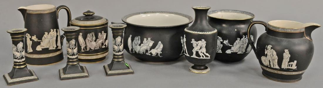 Nine piece Fenton and Pratt Old Greek group to include