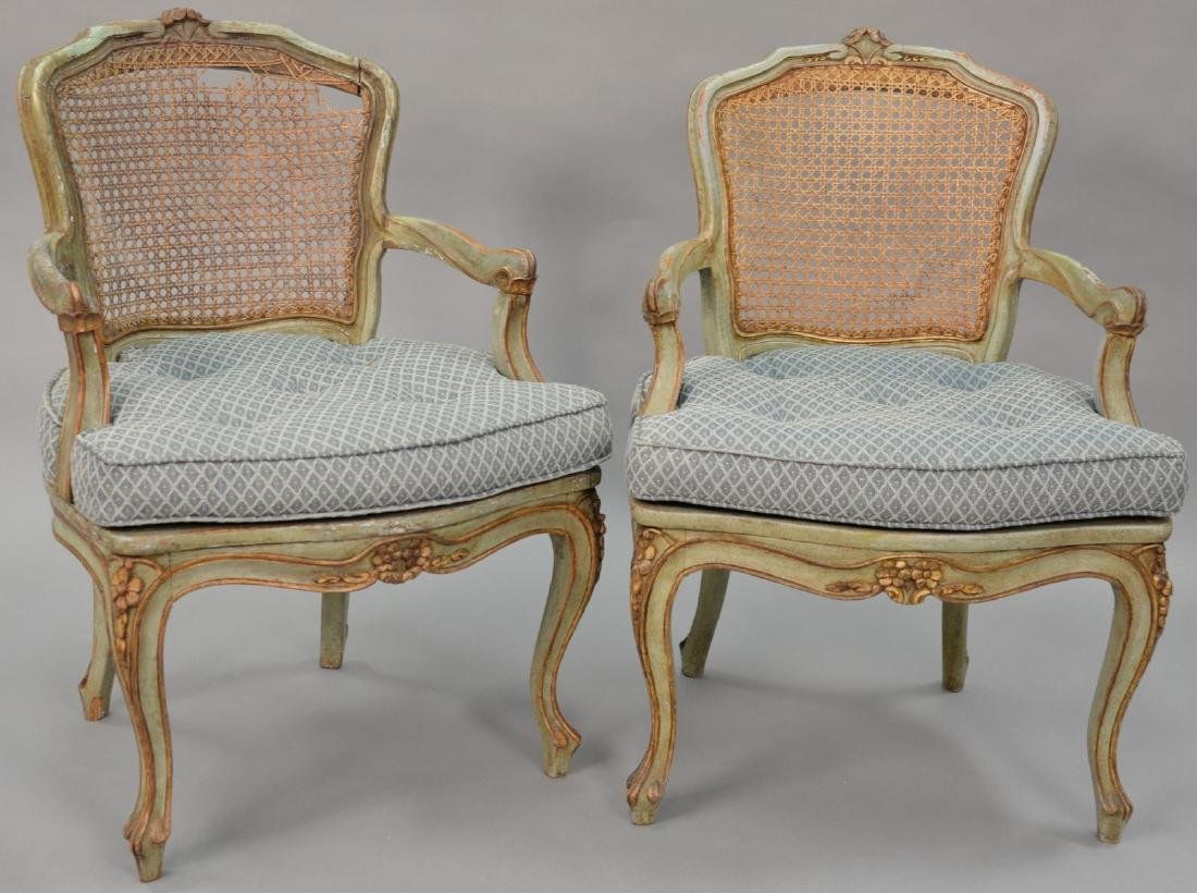 Set four Louis XV style (some caning as is).