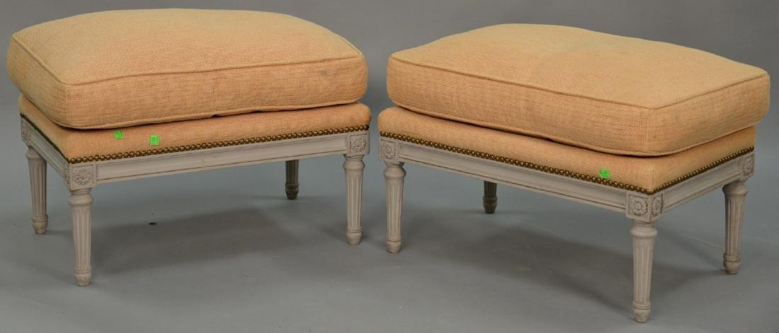 Pair of Louis XVI style ottomons with custom