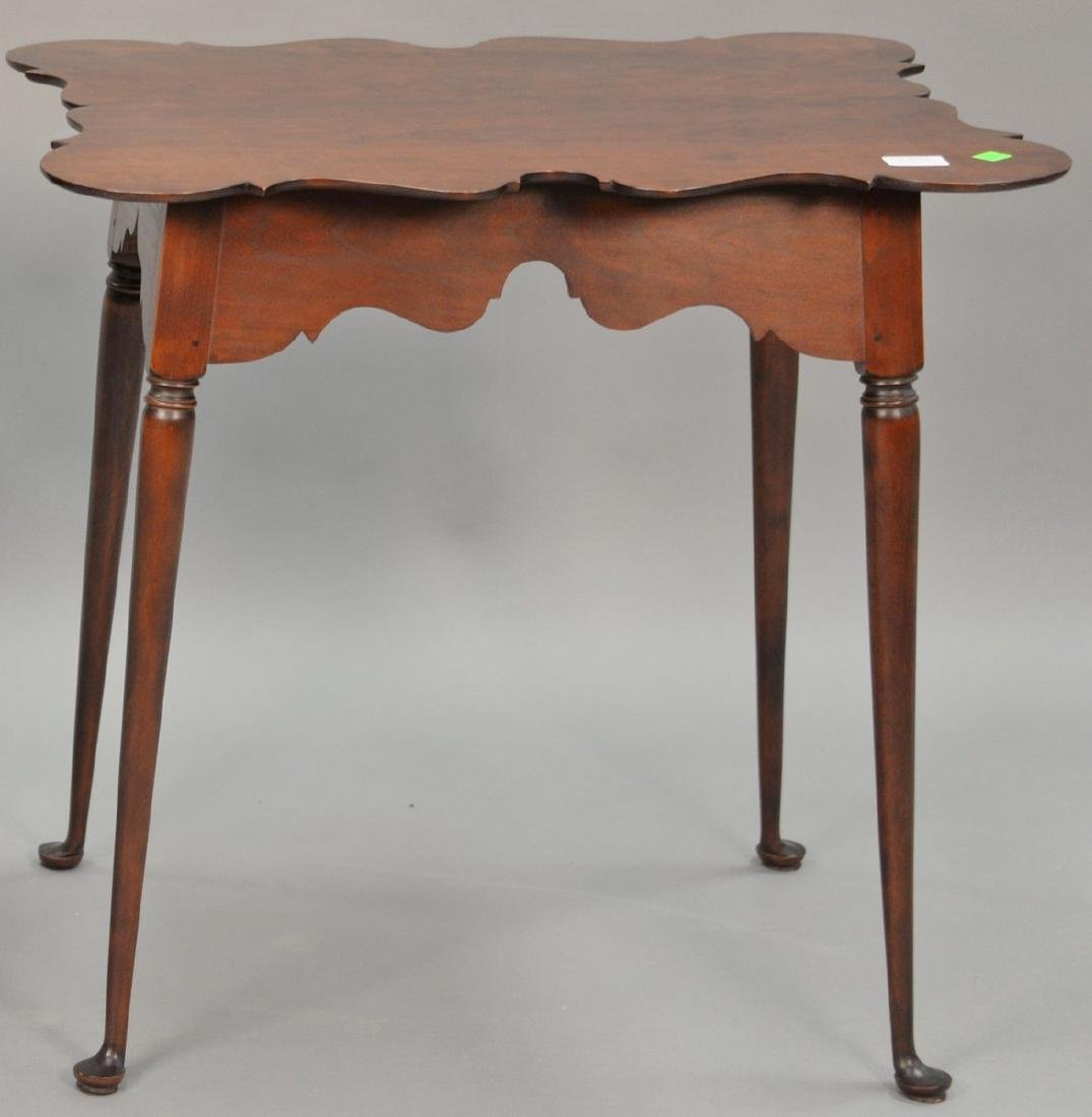 Custom cherry Queen Anne style tea table with shaped