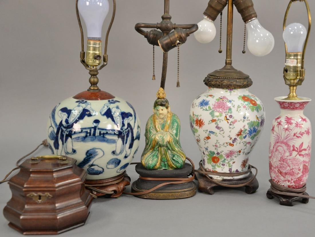 Five piece lot to include four Chinese table lamps: