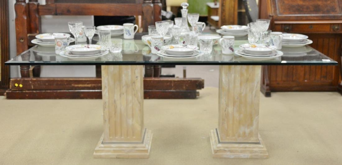 Glass top dining table with two faux painted square