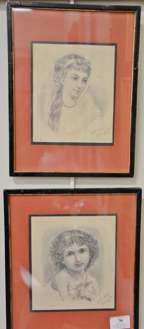 Four framed pencil drawings including a pair of 19th