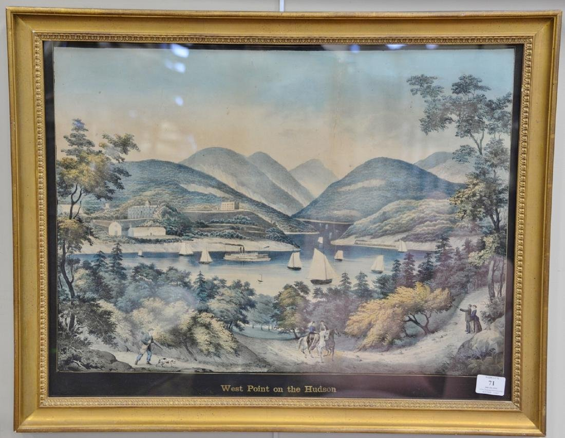 Hudson River hand colored lithograph, West Point on the