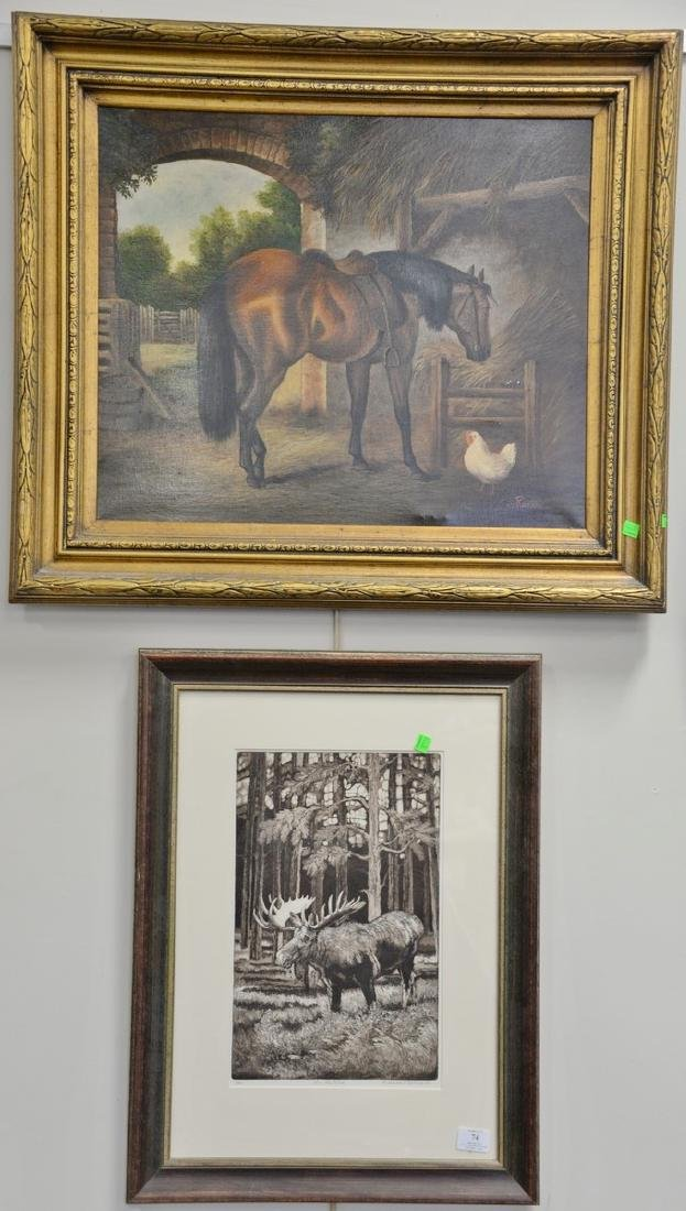 Two framed pieces to include 20th century oil on canvas