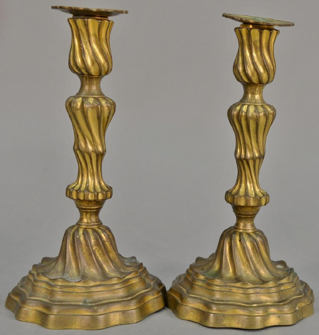 Pair of Continental candlesticks retaining some