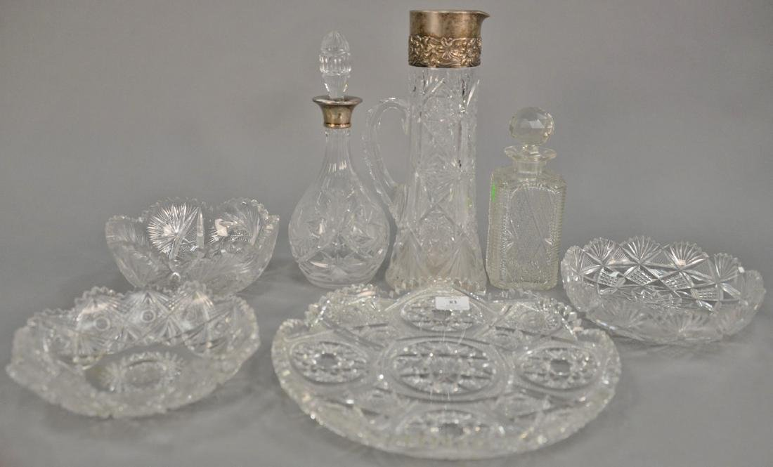Group of seven pieces of cut glass to include tall