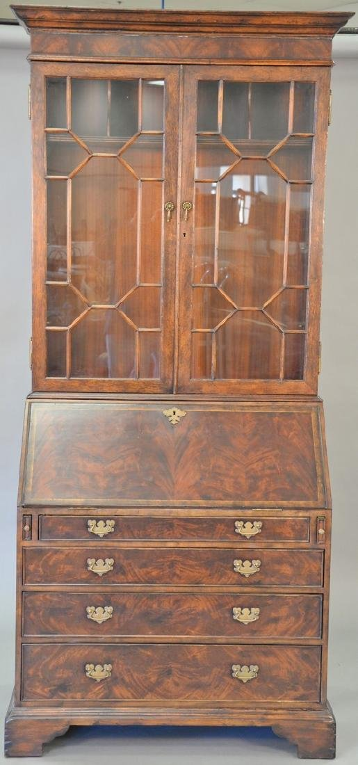 George II style burlwood secretary desk in two parts