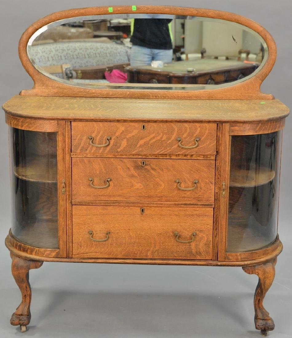 Victorian oak sideboard with mirror and bow glass