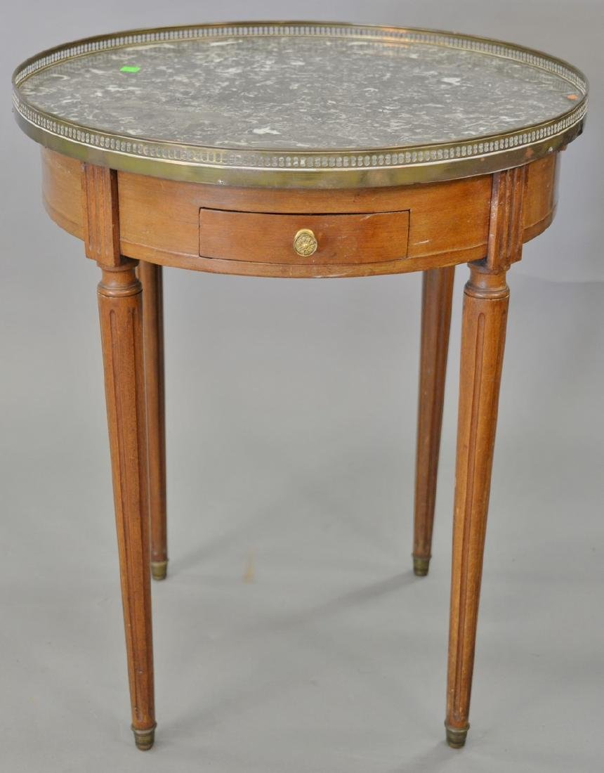 Louis XVI style round marble top table having two