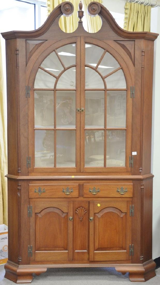 Mahogany centennial two part corner cupboard with shell