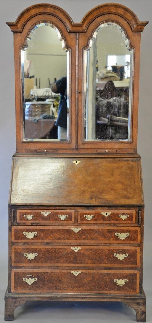 George II style burlwood secretary desk. ht. 80 in.,