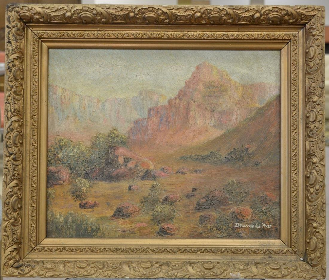 Two framed oil on canvas paintings including Western