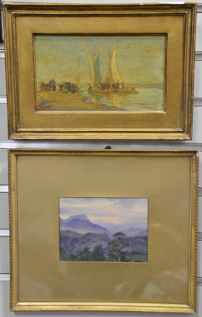 Two small paintings including oil on cribbed board,