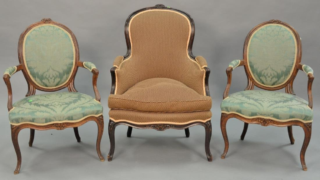 Three Louis XV style chairs.   Provenance: The Estate