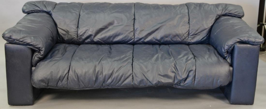 Navy blue leather contemporary sofa with removable