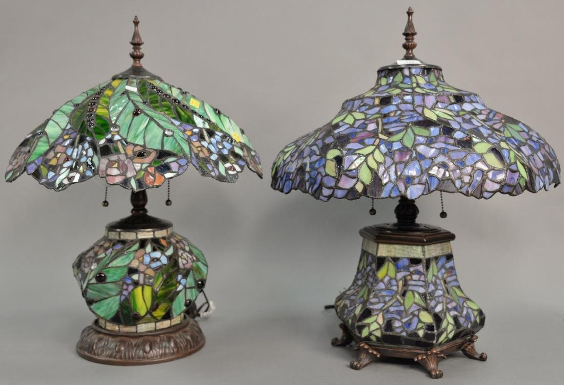 Two leaded glass table lamps with light up bases, late