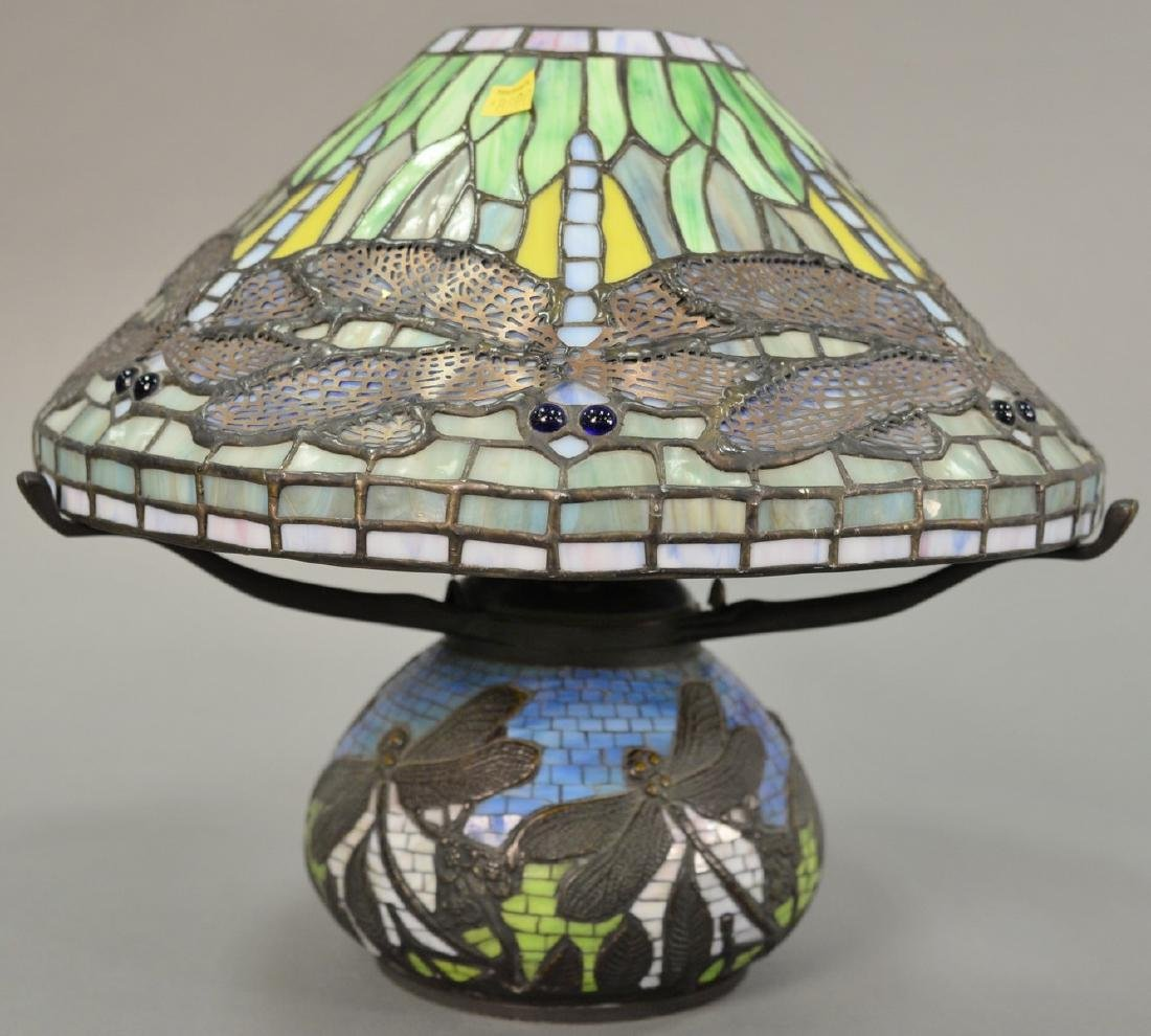 Leaded table lamp with dragonflies, late 20th century.