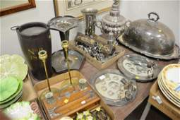 """Group of silver plate to include a large tray (16"""" x 27"""