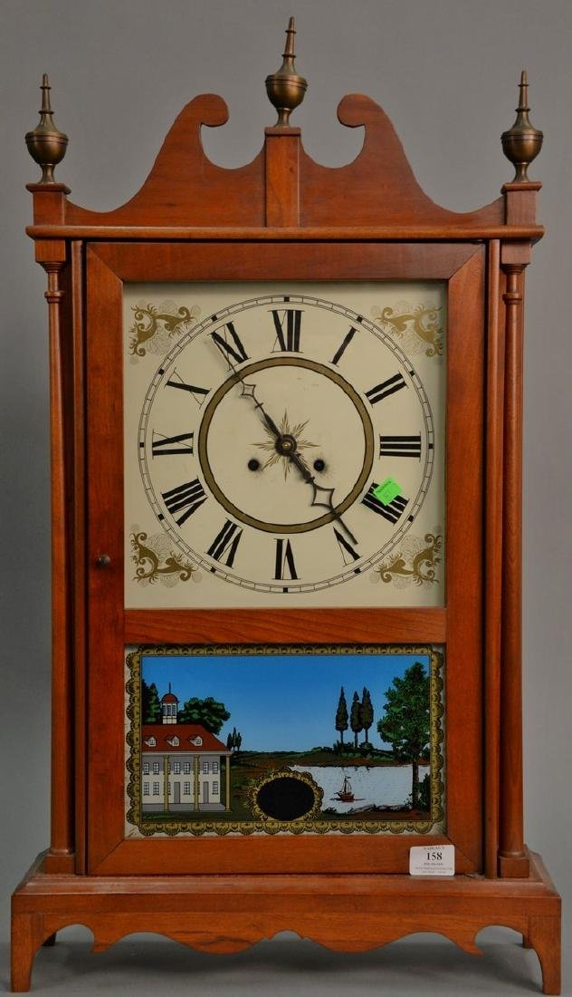 Reproduction pillar and scroll style clock. ht. 31 1/2