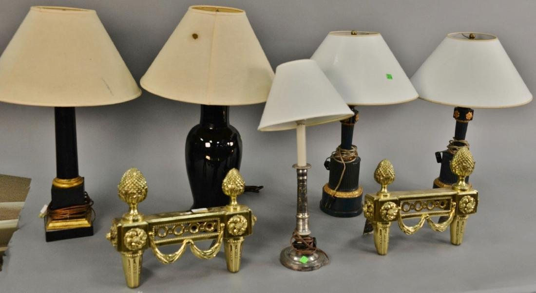 Group of five table lamps, hts. 21in. to 26in., and