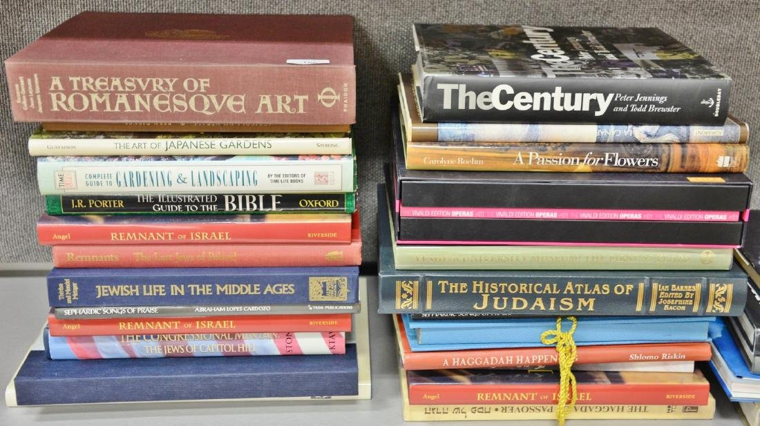 Thirty coffee table books, mostly Israeli/Hebrew themed