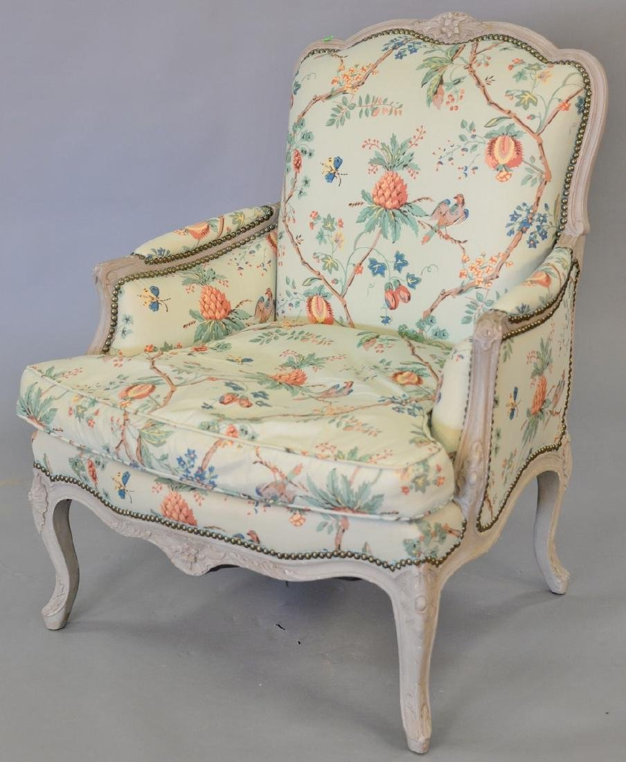 Louis XV style bergere with custom upholstery.