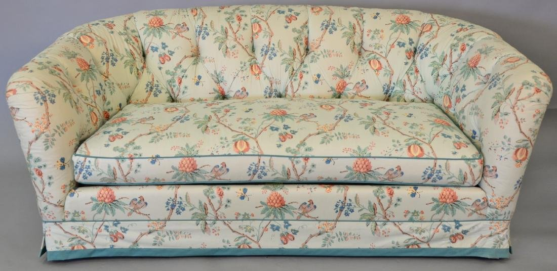 Upholstered sofa with tufted upholstered back. lg.