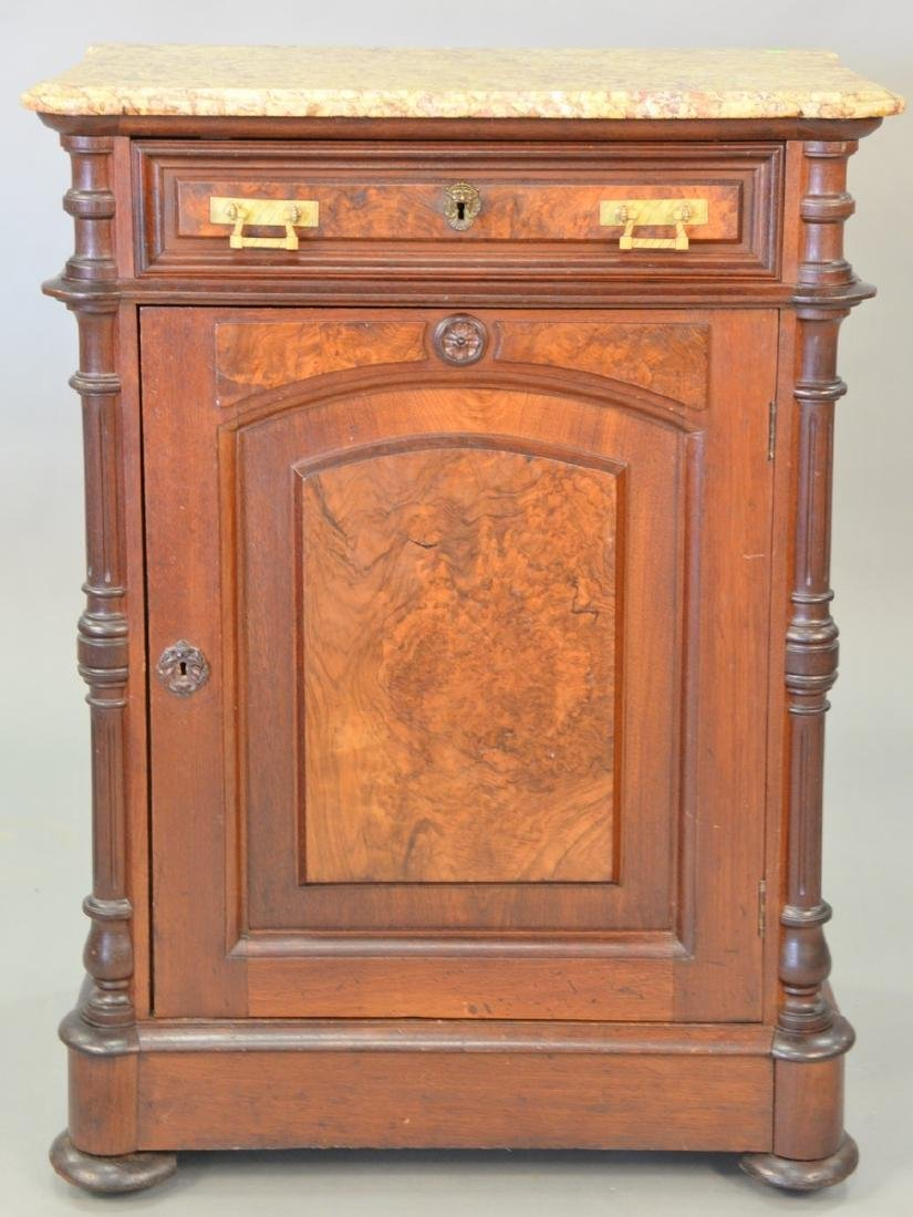 Victorian walnut marble top cabinet with door and