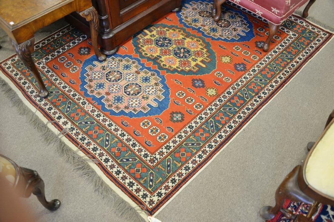 "Oriental throw rug. 4'10"" x 6'3"""