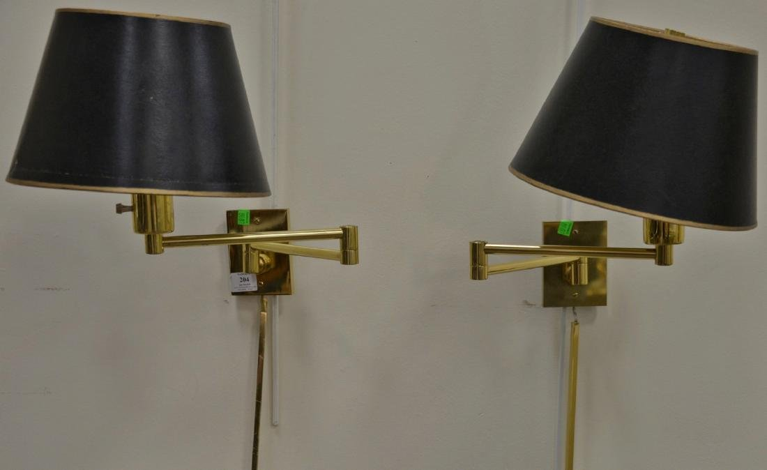 One pair of Hansen brass wall mount lamps with shades,