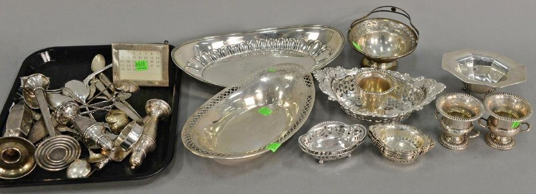 Sterling silver lot including three oval dishes, nut