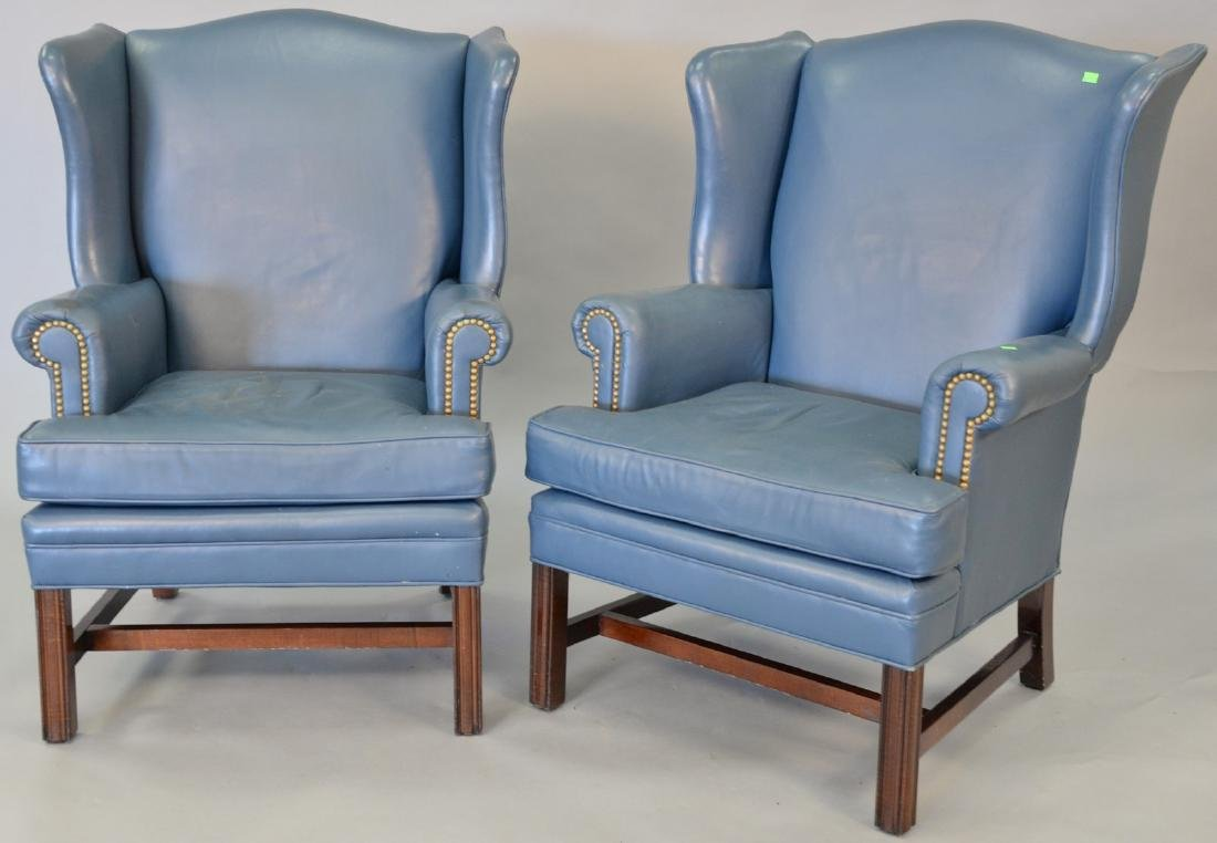Leathercraft pair of blue leather Chippendale style