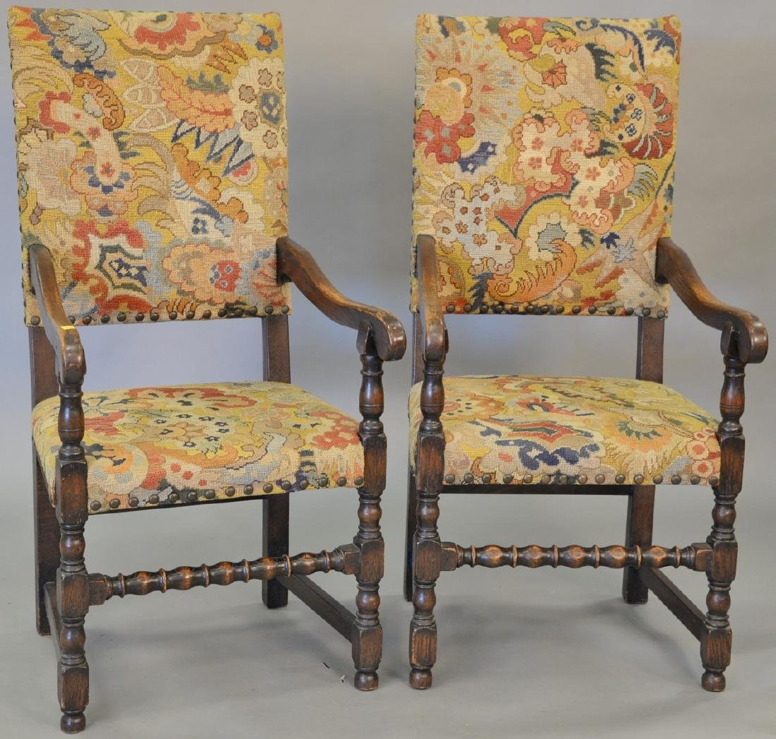 Pair of oak Jacobean style armchairs with needlepoint