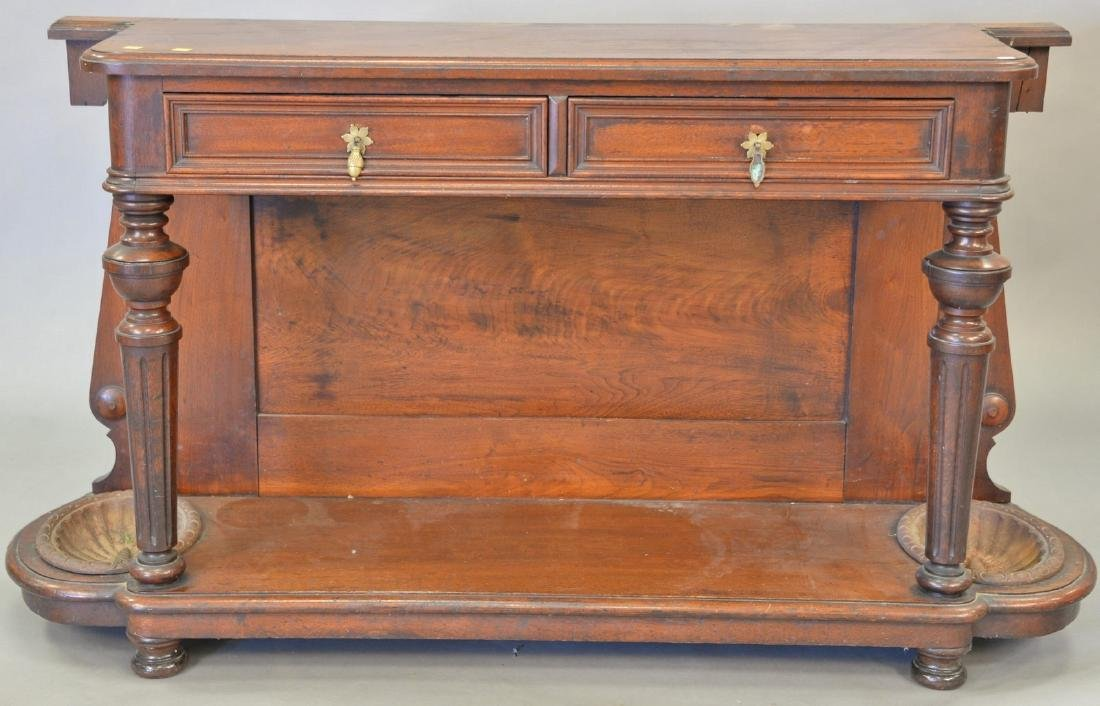 Two piece Victorian walnut hall rack, base with two